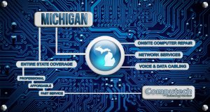 Onsite Computer PC and Printer Repair, Network, Voice and Data Cabling Services Throughout Michigan